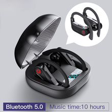 HBQ Q62 TWS 5.0 Bluetooth True Wireless Earphones Ear Hook Headphones Sports Earbuds with Power Dispaly charging case for Phone