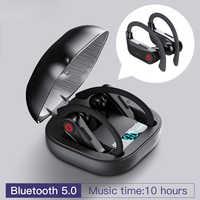 Hbq Q62 Tws 5.0 Bluetooth Vero Wireless Auricolari Cuffie Del Gancio Dell'orecchio Auricolari Sportivi con Il Potere Dispaly Custodia di Ricarica per Il Telefono