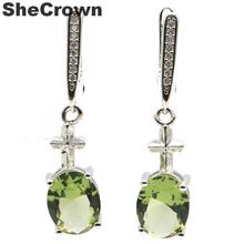 34x8mm 2019 Simple style Created Green Amethyst Cross White CZ Gift For Girls Silver Earrings