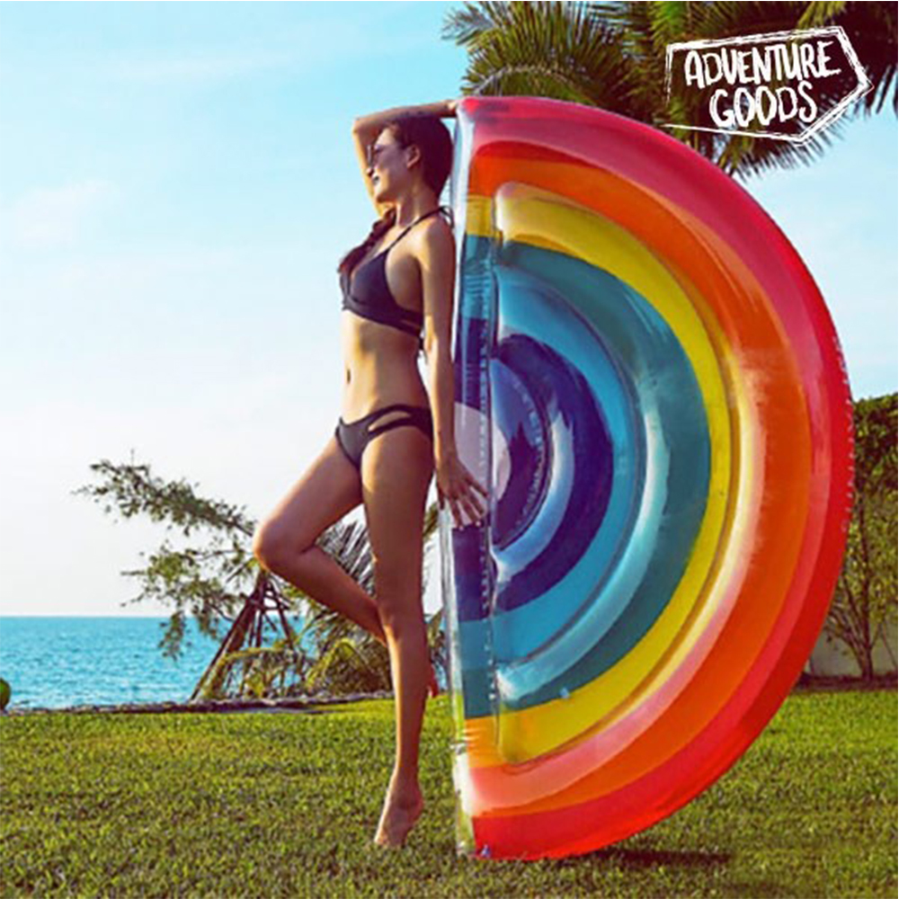 AdeventureGoods Mattress Inflatable Loungers Swimming Pool Mat Inflatable Shaped Arco Iris Float Bathwater Beach Supports 80kg