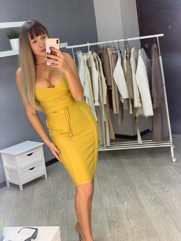 Spaghetti Strap Bandage Dresses Above Knee Sleeveless Sheath Solid Deep V Backless Fashion Sexy Club Evening Party Dress photo review