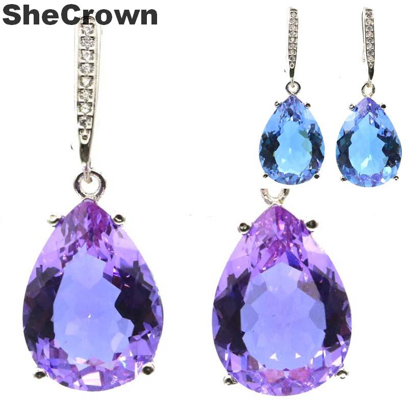 35x13mm Special Drop Shape 18x13mm Created Color Changing Alexandrite & Topaz Gift For Ladies Silver Earrings