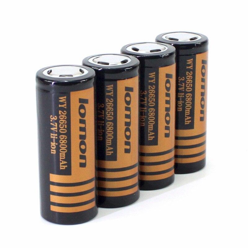 Аккумулятор LOMON 26650 (6800mAh) 3,7 V Li-ion оригинал реальная eмкость аккумулятора 3800mAh LED фонарь мощный лазер