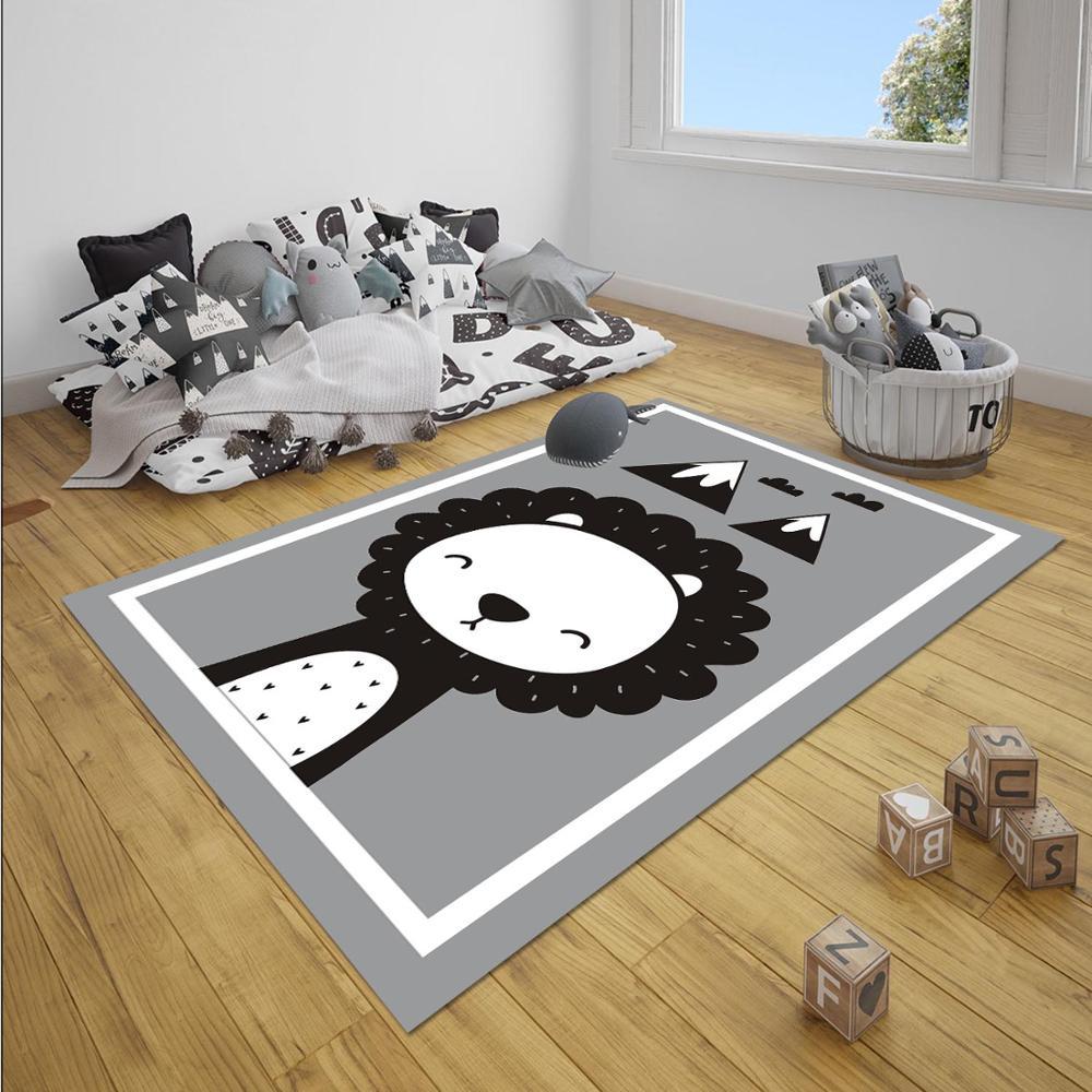 Else Gray White Black Jungle Lion Animals Boy 3d Print Anti Slip Microfiber Children Baby Kids Room Decorative Area Rug Mat