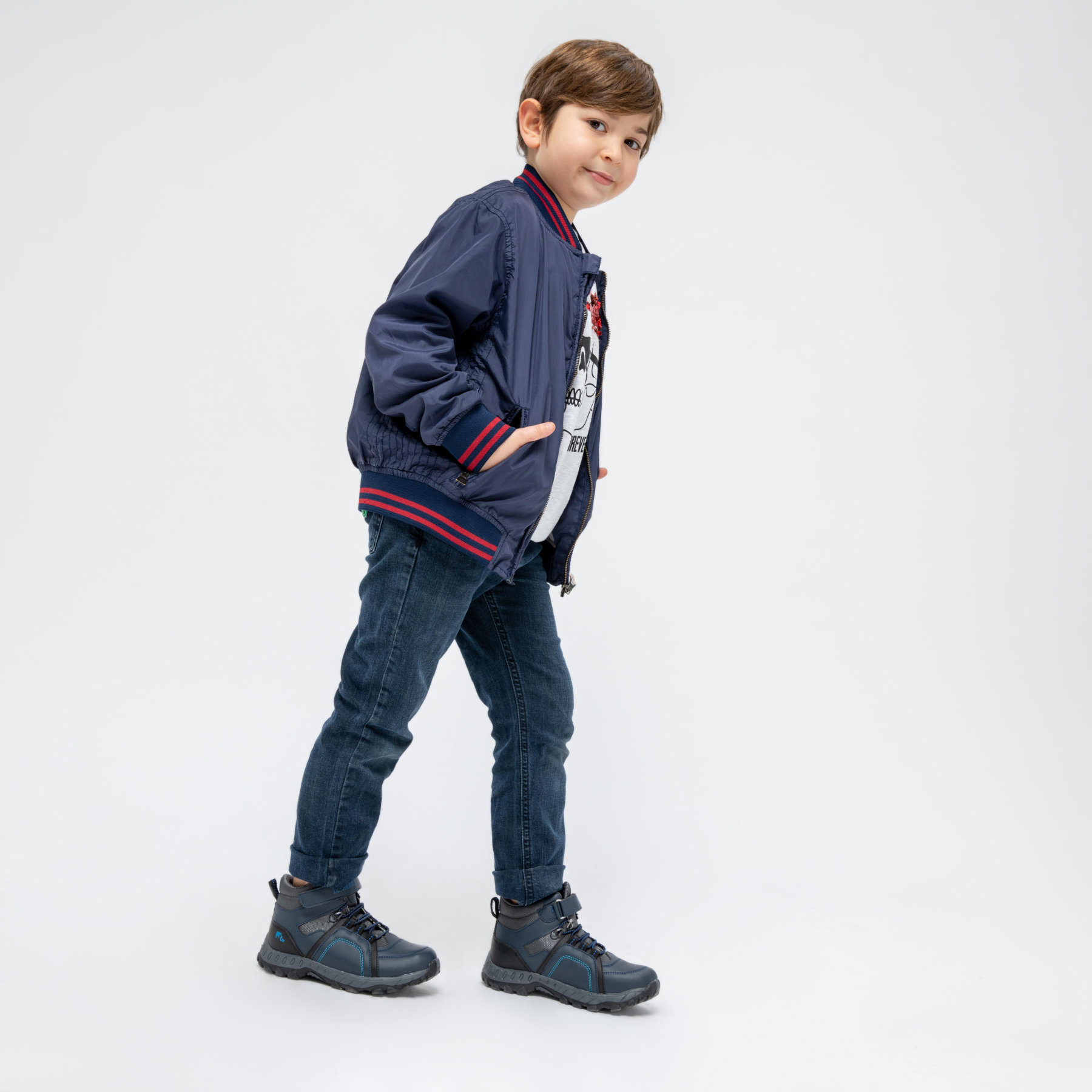 FLO MELKON 9PR Navy Blue Male Child Outdoor LUMBERJACK