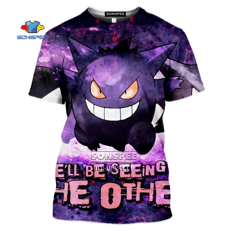 SONSPEE Gengar Men's T-shirt 3D Print Anime Pokemon Tshirt Women Gothic Casual Summer Hip Hop Shirt Oversized Tops Streetwear 2