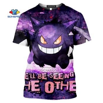SONSPEE Gengar Men's T-shirt 3D Print Anime Pokemon Tshirt Women Gothic Casual Summer Hip Hop Shirt Oversized Tops Streetwear 2