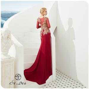 NEW 2020 St.Des Red Mermaid Russian Flowers Sequins Beading long Sleeve Designer Floor Length Evening Dress Party Dress