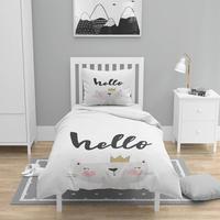 Else 4 Pcs Black White Gray Cat Prince Nordec 3D Print Cotton Satin Chidren Kids Duvet Cover Bedding Set Pillow Case Bed Sheet