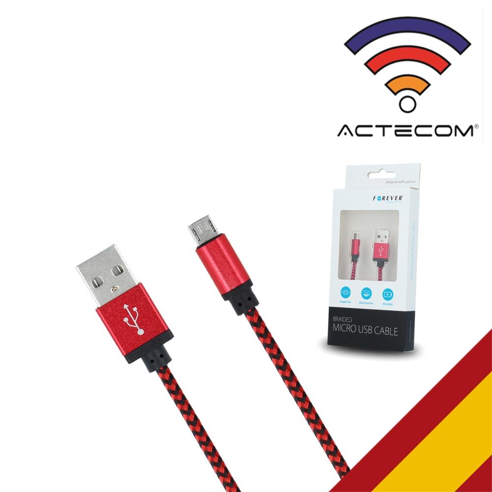ACTECOM Cable Micro USB Carga Y Datos Tejido 1 Metro FLEXIBLE CON CAJA
