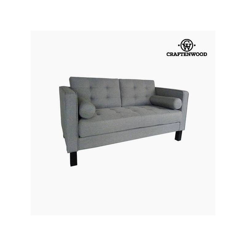 2 Seater Sofa Pine Wood Gray Polyester (149x81x81 Cm) By Craftenwood