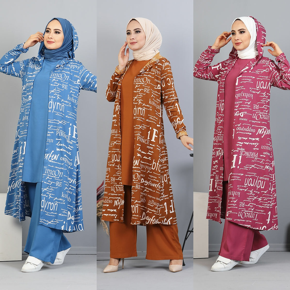 3 Piece Sets Women Hooded Tracksuit Patterned Long Hoodie + Pants Jogging + Solid Top Over Plus Size Suits Muslim Sportswear Fem