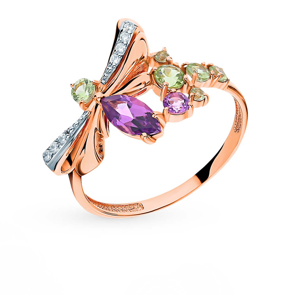 Gold Ring With хризолитом, Amethyst And Cubic Zirconia Sunlight Sample 585