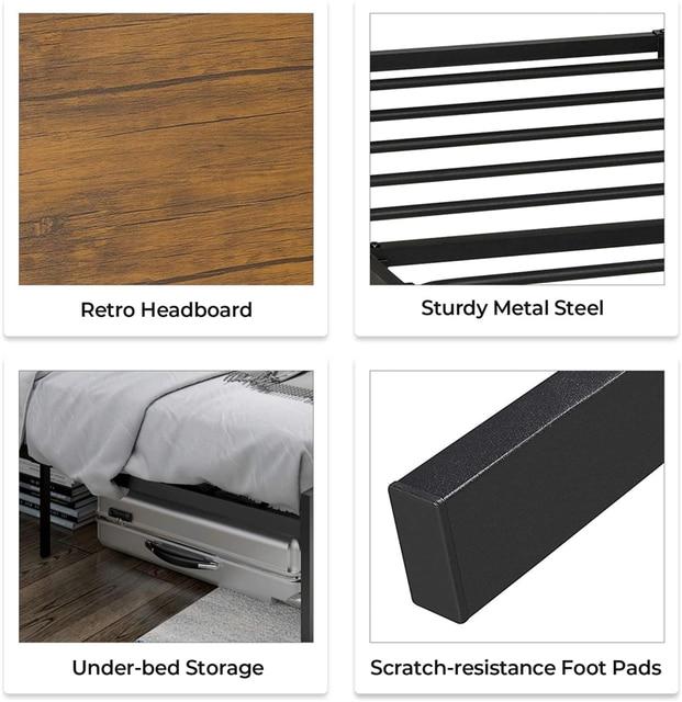 Full Size Metal Platform Bed Frame with Headboard /Footboard 5