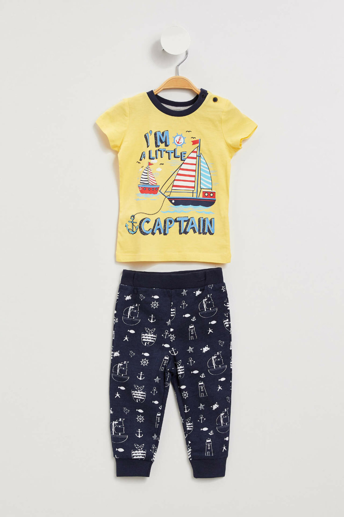 DeFacto New BabyBoy Fashion Cute Set Boys Casual O-neck Lovely Pattern Tops Pants High Quality Kids Sets Summer - K6426A219SM