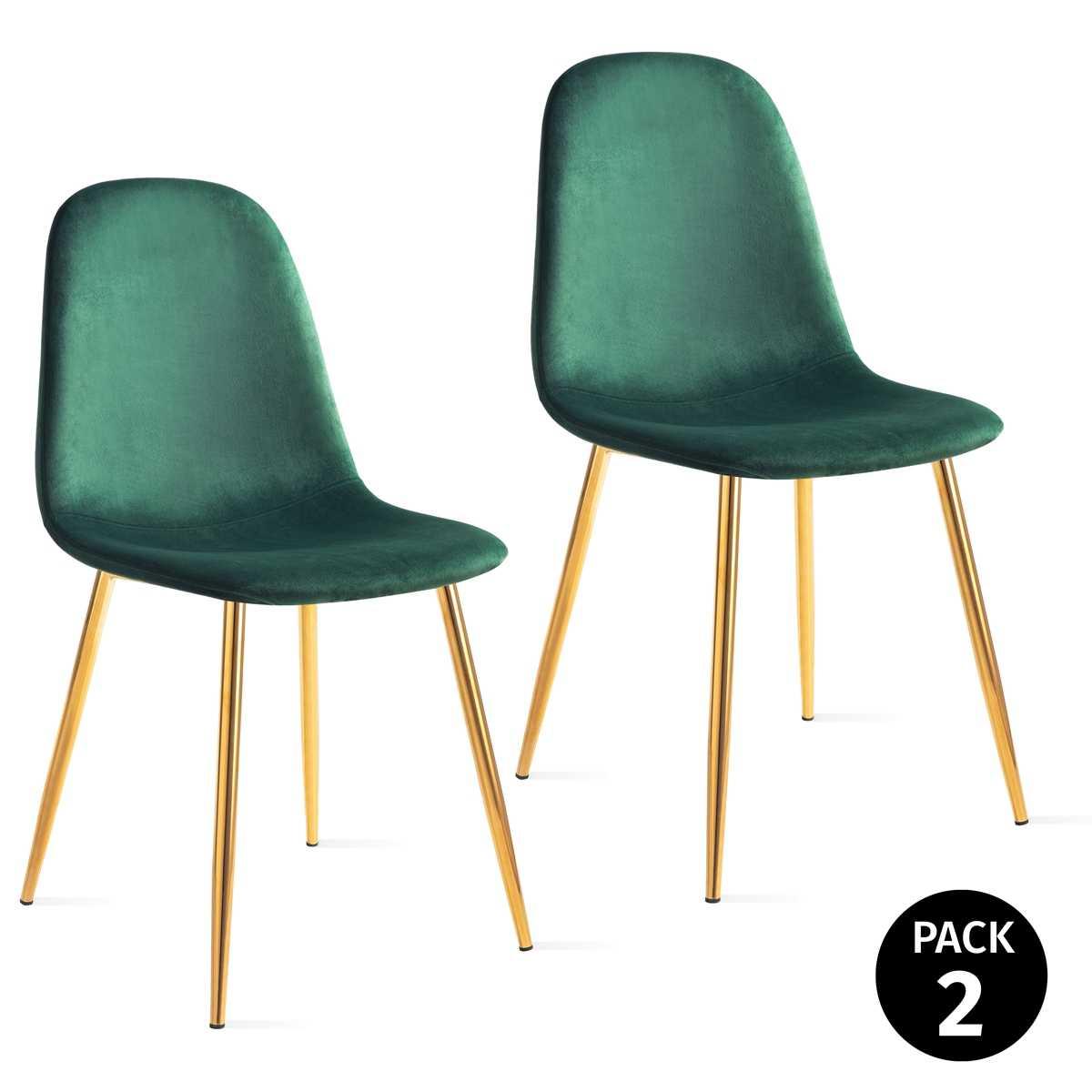 Pack 2 Sillas De Dining Room Vintage Tapizadas Green Velvet