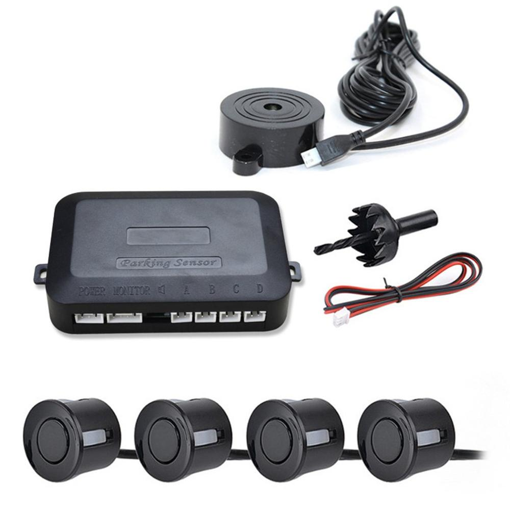 12V Car Parking Sensor Kit Reverse Backup Radar Sound Alert Indicator Probe System 4 Probe Beep Sensor Car Detector
