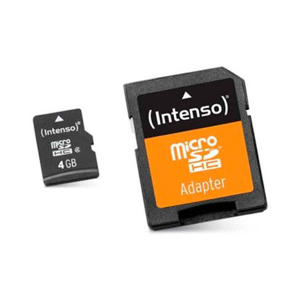 Micro SD Memory Card With Adaptor INTENSO 3413450 4 GB Class 10