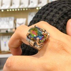 Mystic Topaz Natuursteen Ontwerp Handwerk Authentieke Sterling Zilveren Ring