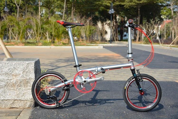 "U870b9eb058eb43348bb3b3cd9aa785bfT Fnhon Gust CR-MO Steel Folding Bike 16"" 305 349 Minivelo Mini velo Bike Urban Commuter Bicycle V Brake 9 Speed"
