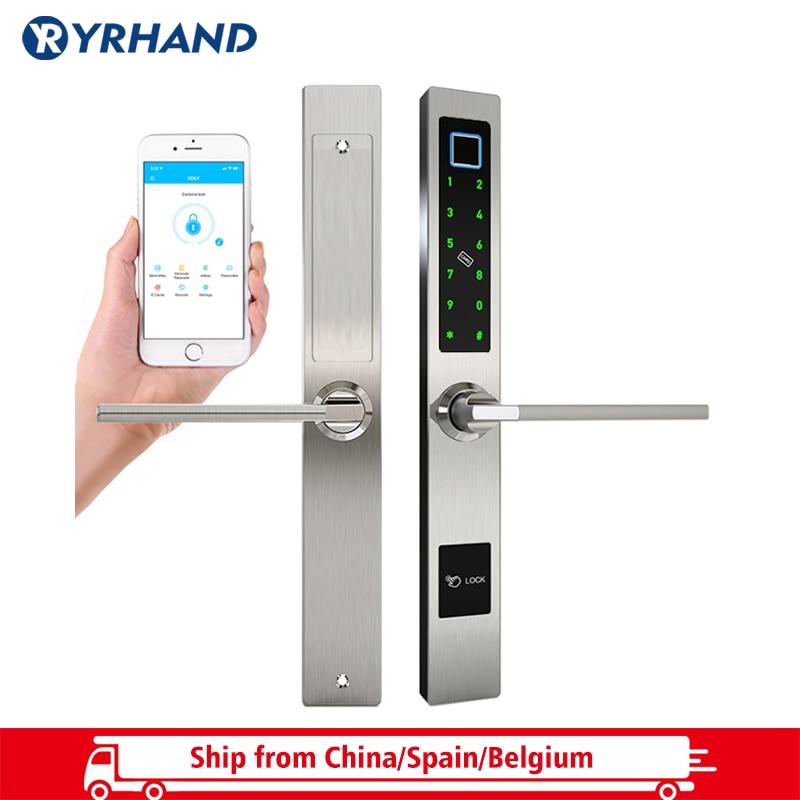 Waterproof European Style Bluetooth Fingerprint Access Electronic Smart Door Lock For Aluminum Glass Door