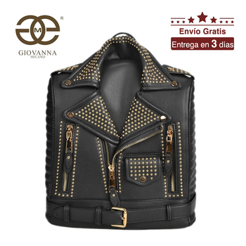 Giovanna Milano women jacket backpack school bag for girls with rivets and zippers solid PU luxury famous brand design T10450