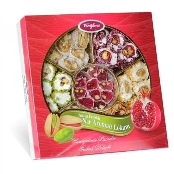 pomegranate pistachio  rose petal walnut mix turkish delight hand made delicious fresh made in Turkey