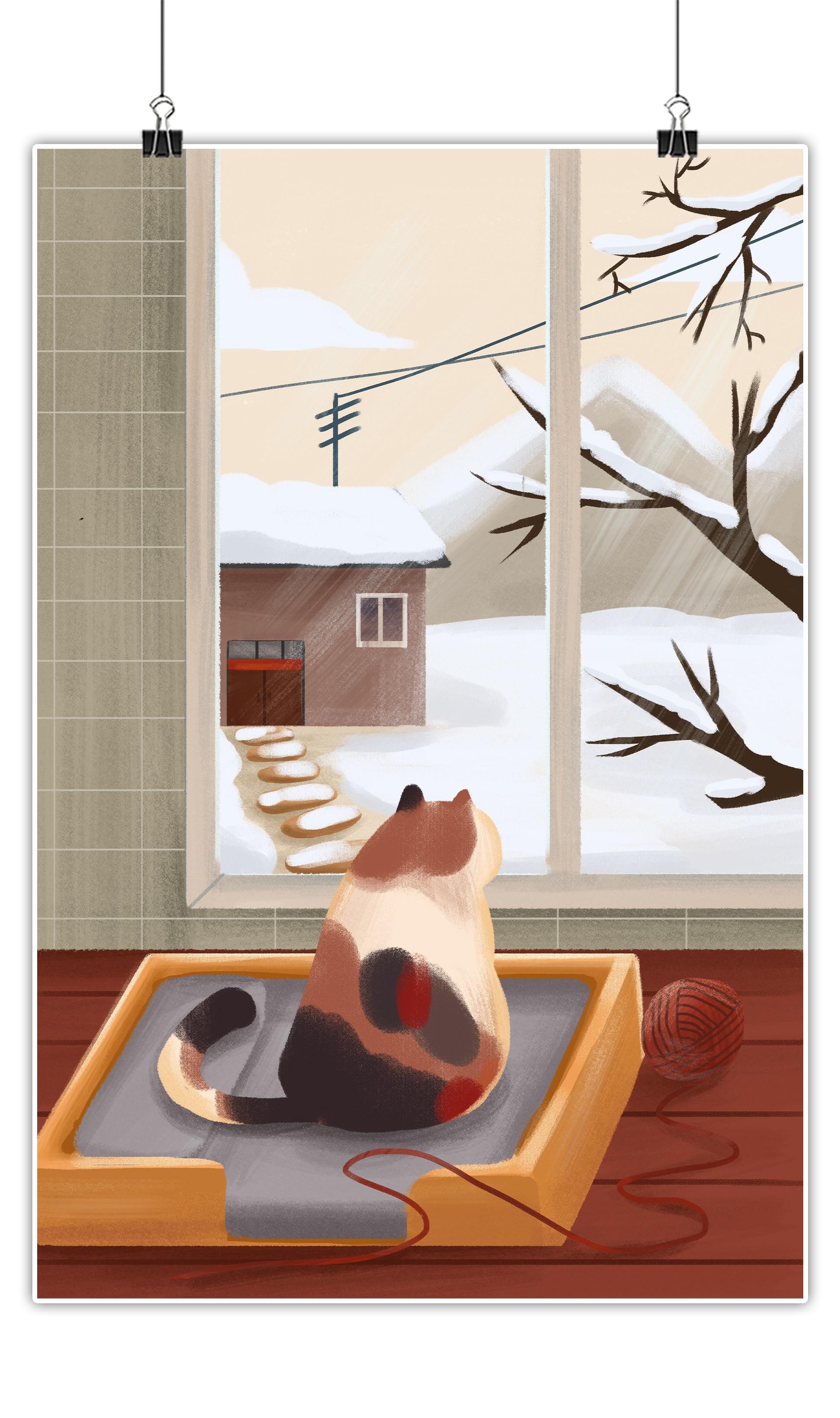 冬日主题在家里望着窗外雪景的猫咪插画