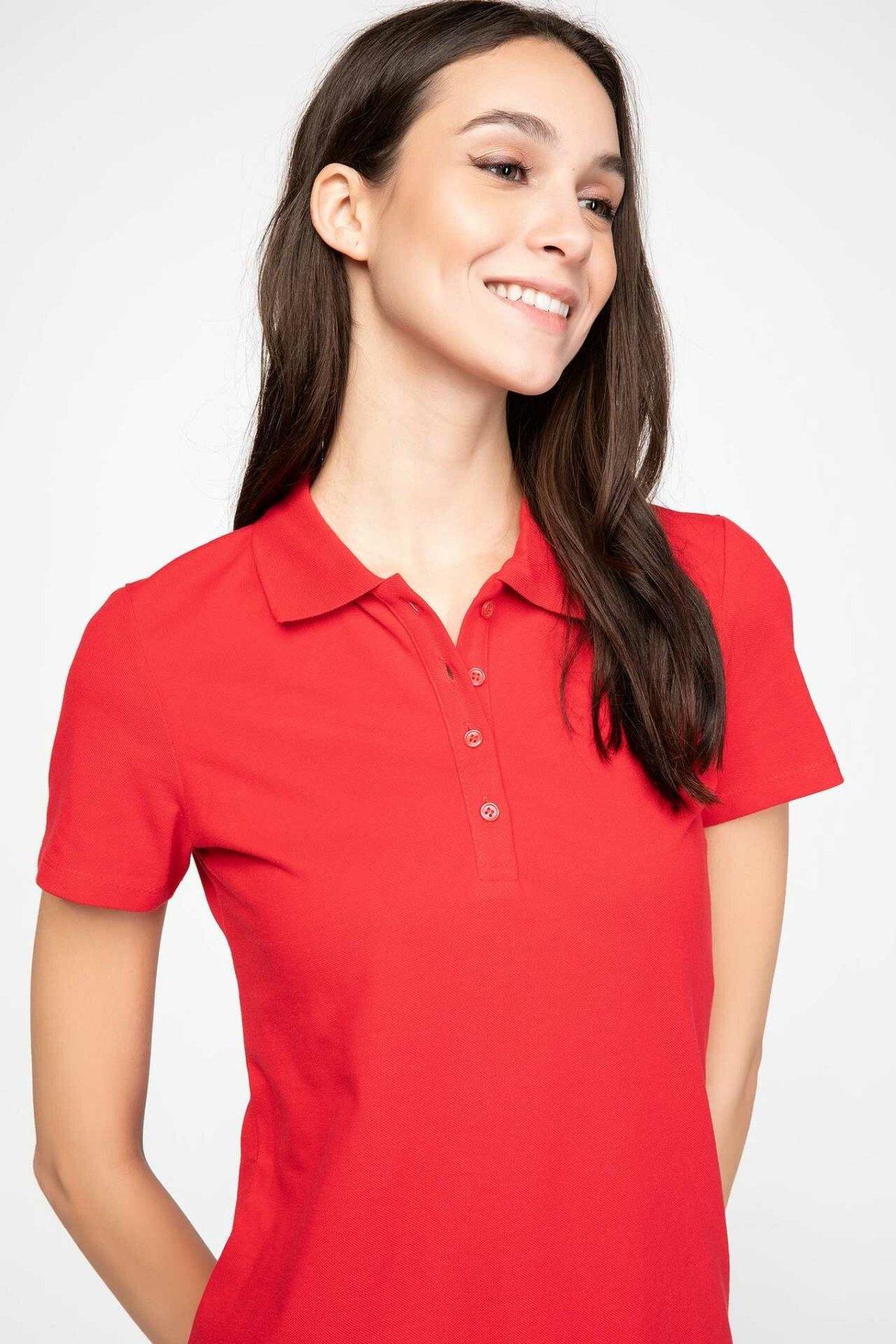 DeFacto Women Summer Casual Polo Shirts Color Short Sleeve Polo Cotton Shirt Turn-down Collar Top Tees-I1078AZ18SP