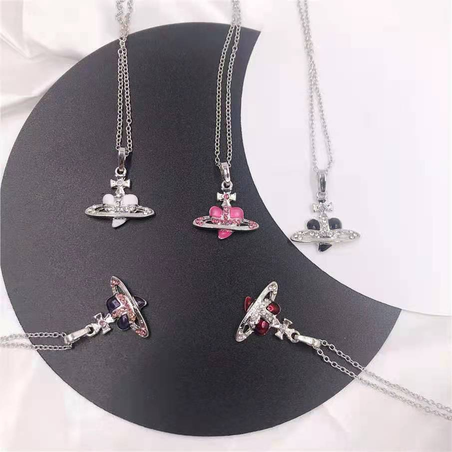 New 2020 Retro Planet Pearl Short Necklaces for Women chains Jewelry Gifts Planet Earrings Zirconia Heart Planet Pendant Saturn