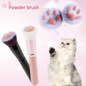 Image 1 - תכליתי 1PCS חתול טופר Paw איפור מברשות חמוד קרן מברשת קונסילר לאורך זמן סומק יופי כלי Maquiagem