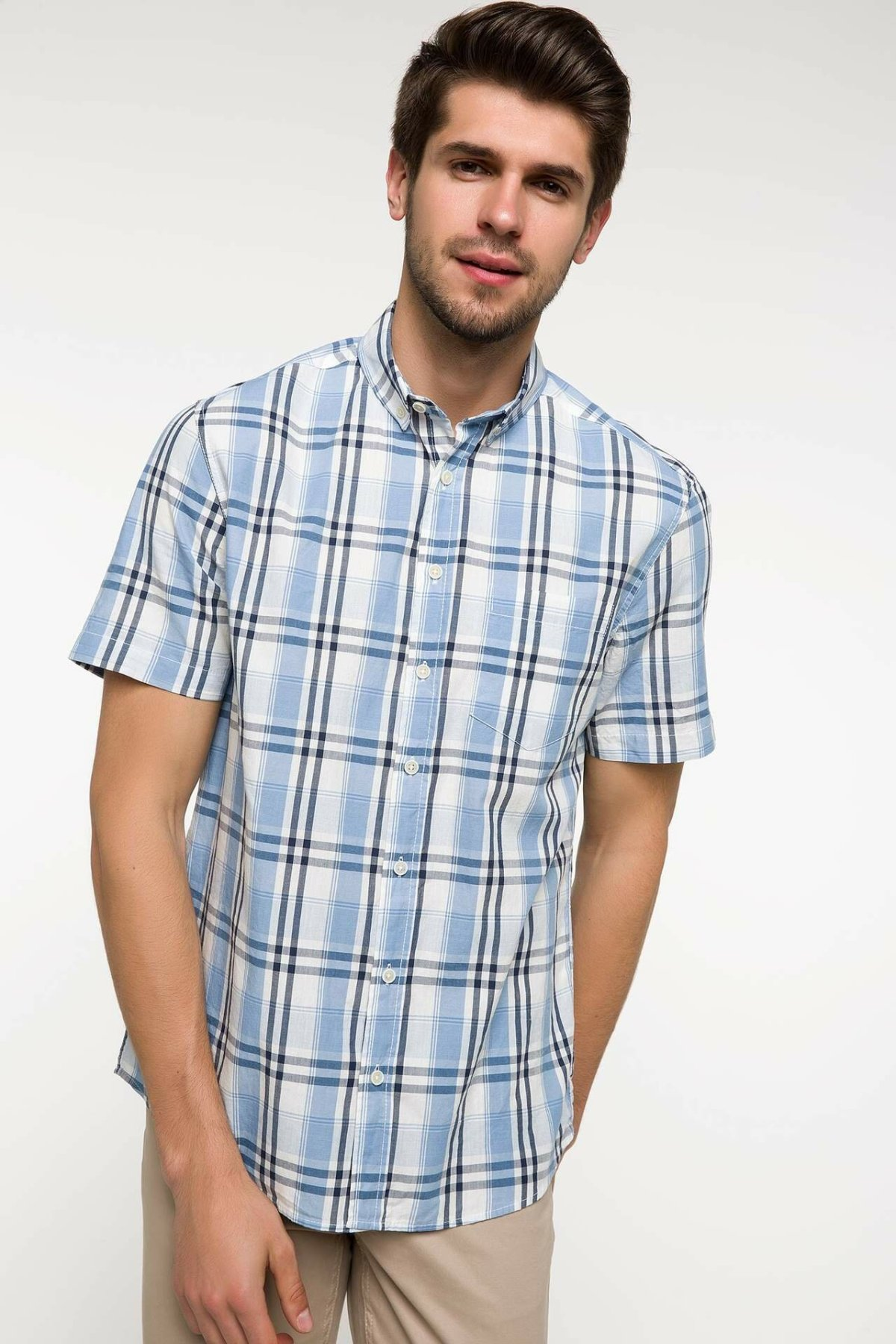 DeFacto Man Summer Plaids Short Sleeve Shirt Men Smart Casual White Grids Top Shirts-I7874AZ18SM