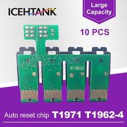 ICEHTANK 10 sztuk dla Epson T1971 T1964 CISS stały czip do urządzeń firmy Epson XP201 XP211 XP204 XP401 XP411 XP214 XP10 drukarki Chipy tonera    -
