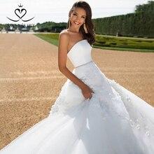 サテン 2 1 でアップリケウェディングドレス 2020 swanskirt着脱式ジャケットビーズaラインカスタマイズされた花嫁衣装ローブ · デ · マリアージュI183