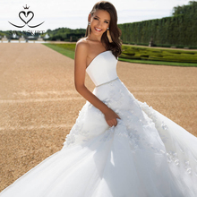 Satin 2 en 1 Appliques Robe De mariée 2020 swanjupes détachable veste perlée a ligne personnalisé Robe De mariée Robe De Mariage I183
