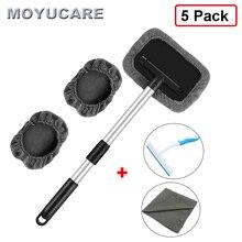 5Pcs Voorruit Cleaning Tool 45Cm Met Microfiber Doek Uitschuifbare Handgreep Voor Exterieur Interieur Glas Autoruit Cleaner Brush