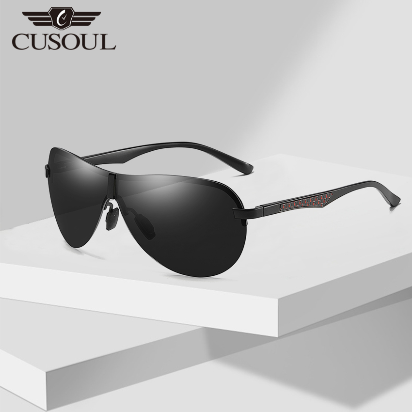 Cusoul Polarized Sunglasses Men Frameless Sun Glasses Male Eyewear with Anti UV400 Lens and Night Lens