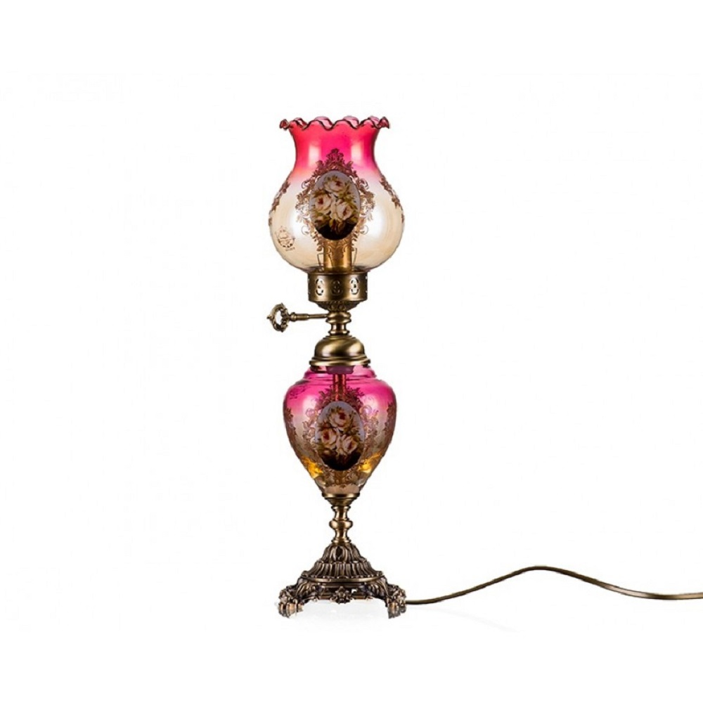 QUALITY TURKISH And ITALIAN DESIGN - PORIO AHD-2003 BRONZE BURGUNDY COLOUR AMBER LAMP WITH METAL STAND - 50 CM - INCLUDED CARGO
