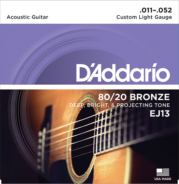 EJ13 Bronze 80/20 Strings For Acoustic Guitar Bronze Custom Light 11-52 D'Addario