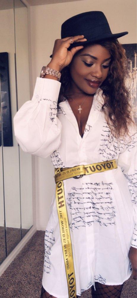 Women Turn Down Collar Letter Printed Shirt Dress Long Sleeve High Waist Plunge Dress Elegant Button Design Dresses Vestidos photo review