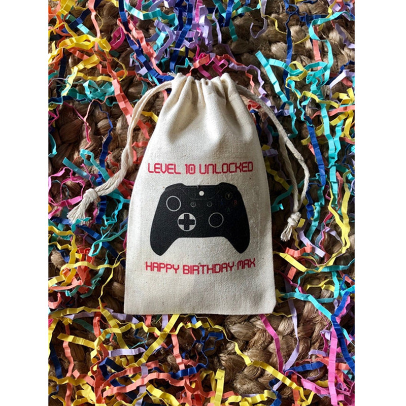 Personalized Video Game Controller Party Favor Bag Custom Birthday Muslin Survival Kit Bags Groomsman Recovery Kit Hangovers Bag