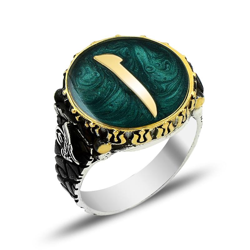 925 argent vert Alif arabe lettre initiale bague pour hommes Mans anneau