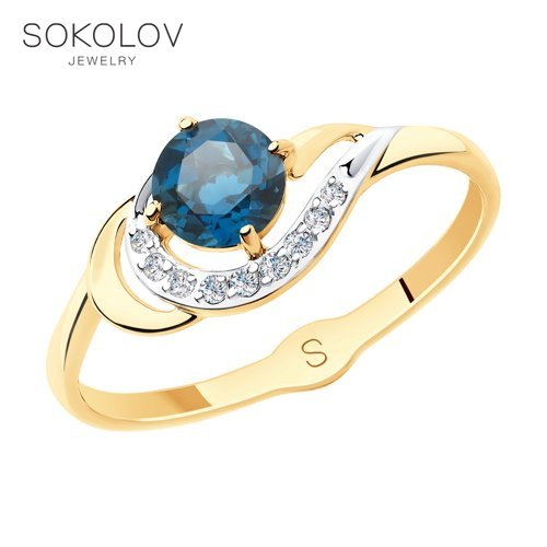 SOKOLOV Ring Gold With Blue Topaz And Cubic Zirkonia Fashion Jewelry 585 Women's Male