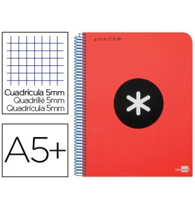 SPIRAL NOTEBOOK LEADERPAPER A5 ANTARTIK HARDCOVER 80H 100 GR TABLE 5MM MARGIN NETWORK