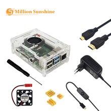 Малина Pi модель B 4 Аксессуары чехол акрил + вентилятор радиатора выключатель питания адаптер микро-HDMI для RPI127