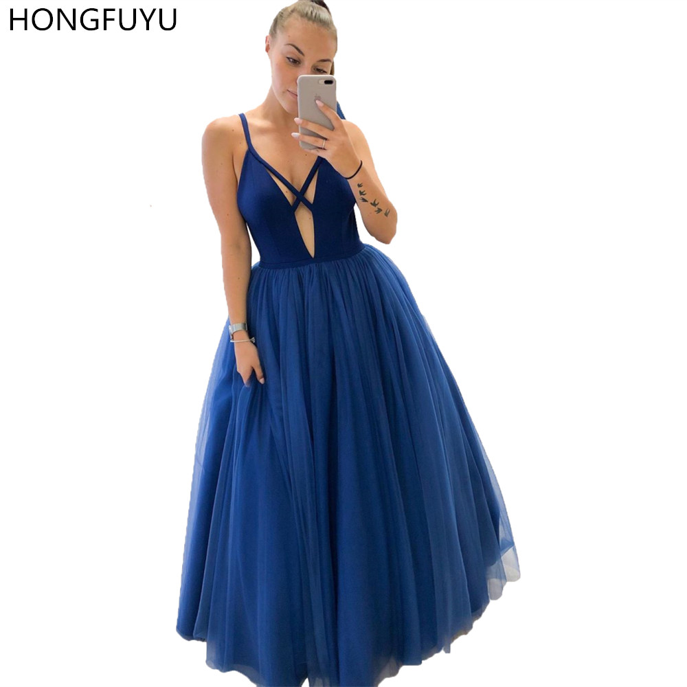 HONGFUYU 2019 Sexy Tulle Ball Gown   Prom     Dresses   Spaghetti Straps Vestidos Floor Length Long Evening Party Gowns Formal Occasion