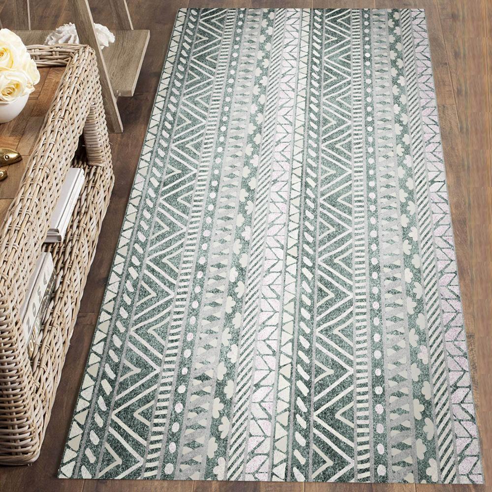 Else Gray White Bohemian Ethnic Morrocan Retro 3d Print Non Slip Microfiber Washable Runner Mats Floor Mat Rugs Hallway Carpets