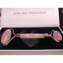 Beauty-Roller-Tool Quartz-Stone Natural Rose Crystal Facial-Massage Gift Girl