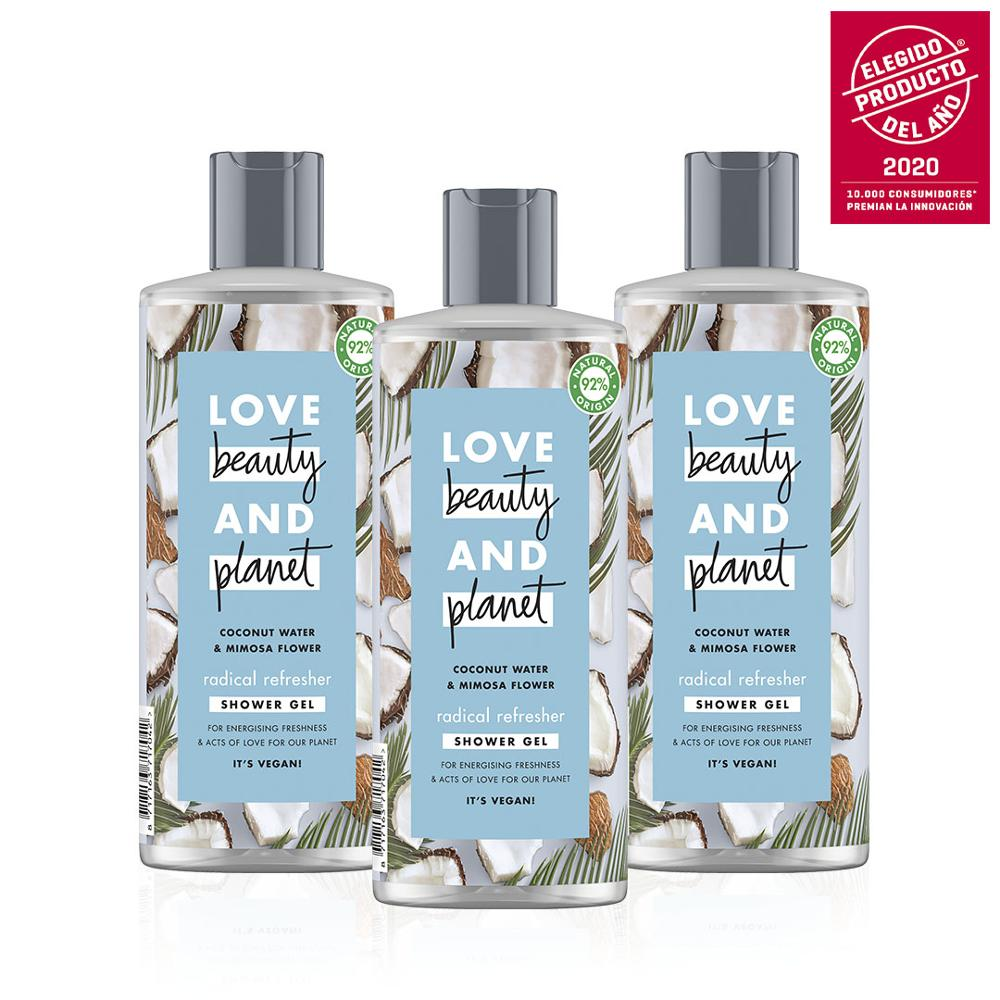 Love, Beauty And Planet Water Coco And Flower Mimosa. Pack Exclusive Online: 3 Gels Shower