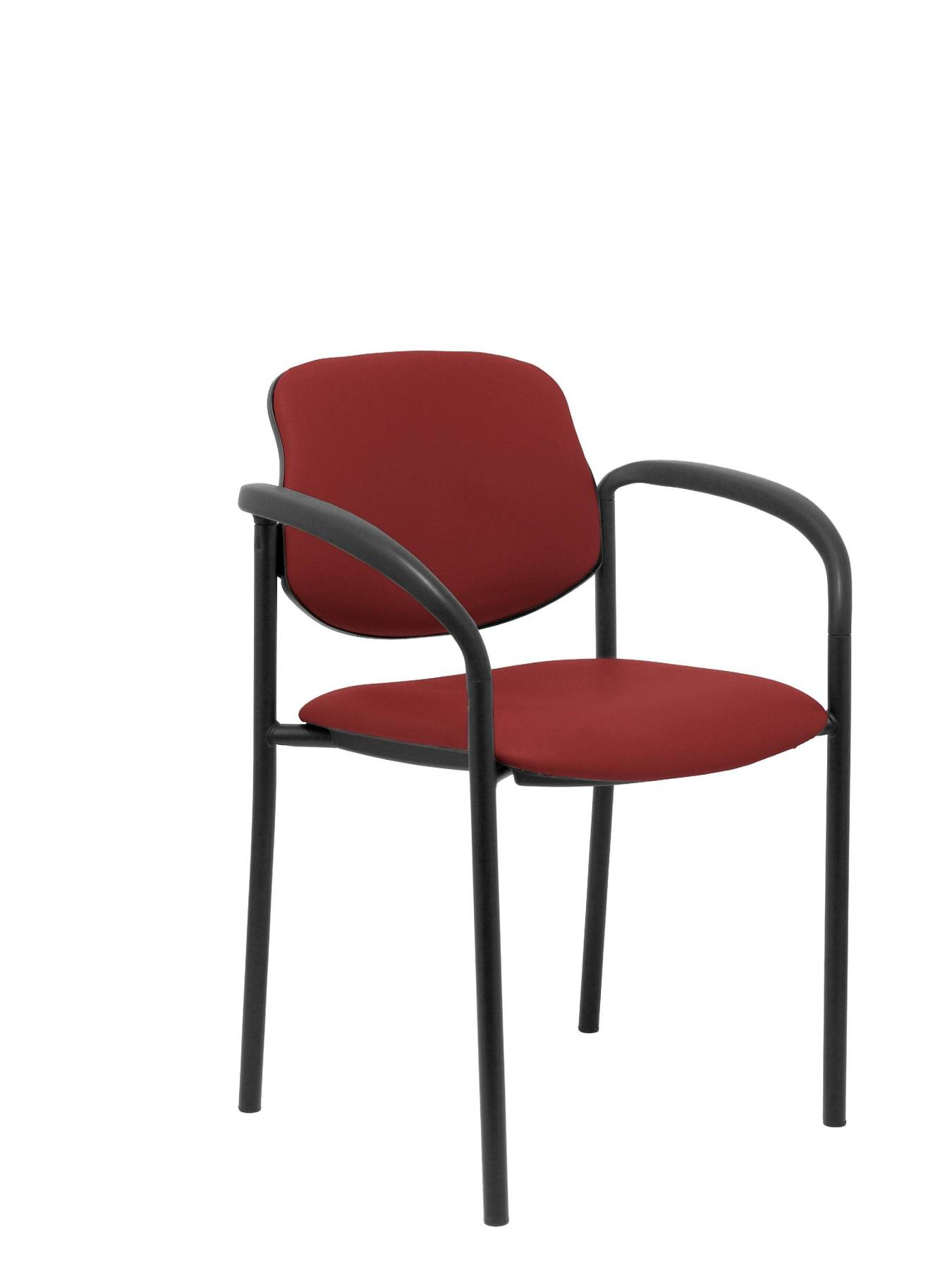 Visitor Chair 4's Topsy, With Arms And Estructrua Negro-up Seat And Backstop Upholstered In Tissue Similpiel Maroon PI